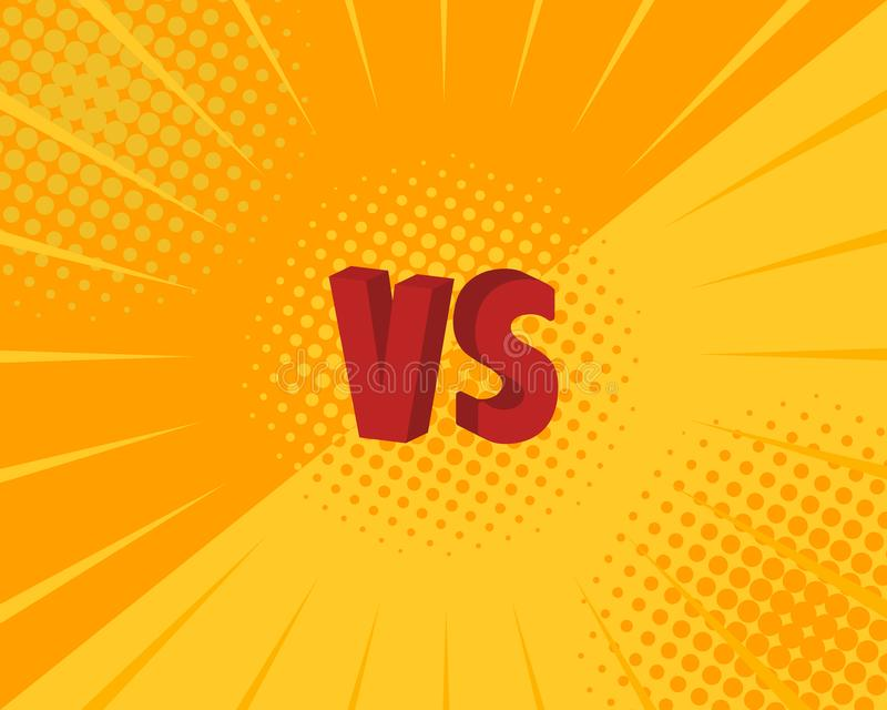 Versus VS letters fight backgrounds in flat comics style design. Vector illustration stock illustration