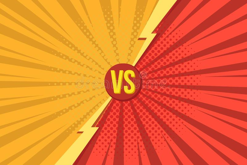 Versus VS letters fight backgrounds in pop art retro comics style with halftone vector illustration