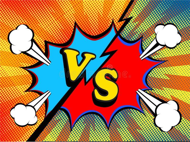 versus VS Walk tło wystrzału sztuki komiczki stylu retro projekt ilustracji