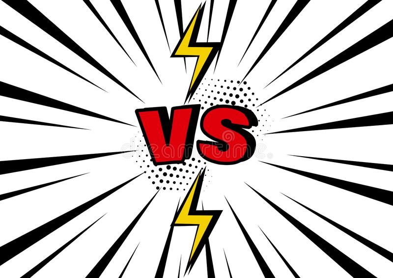 Versus. VS word with lightning on black and white pop art background with sunbeams. Vector stock illustration