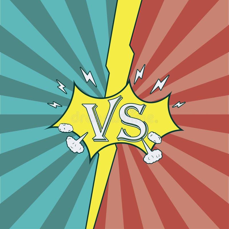 versus Walczący tło komiczka styl Sunburst tekstura ilustracji