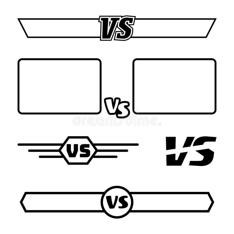 Versus Wektorowy symbolu set VS listy I ramy pojedynczy białe tło turniejowego pojęcia odosobniony biel Walki konfrontacja ilustracja wektor