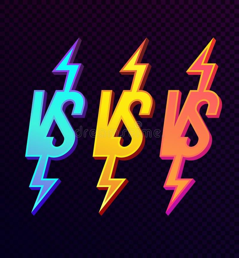 Versus znaka ustalony nowożytny neonowy gradientowy śmiały styl ilustracja wektor