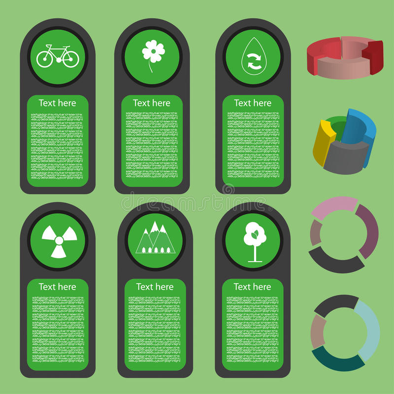 Vert écologique d'affaires infographic avec des icônes et 3d des diagrammes, conception plate illustration stock