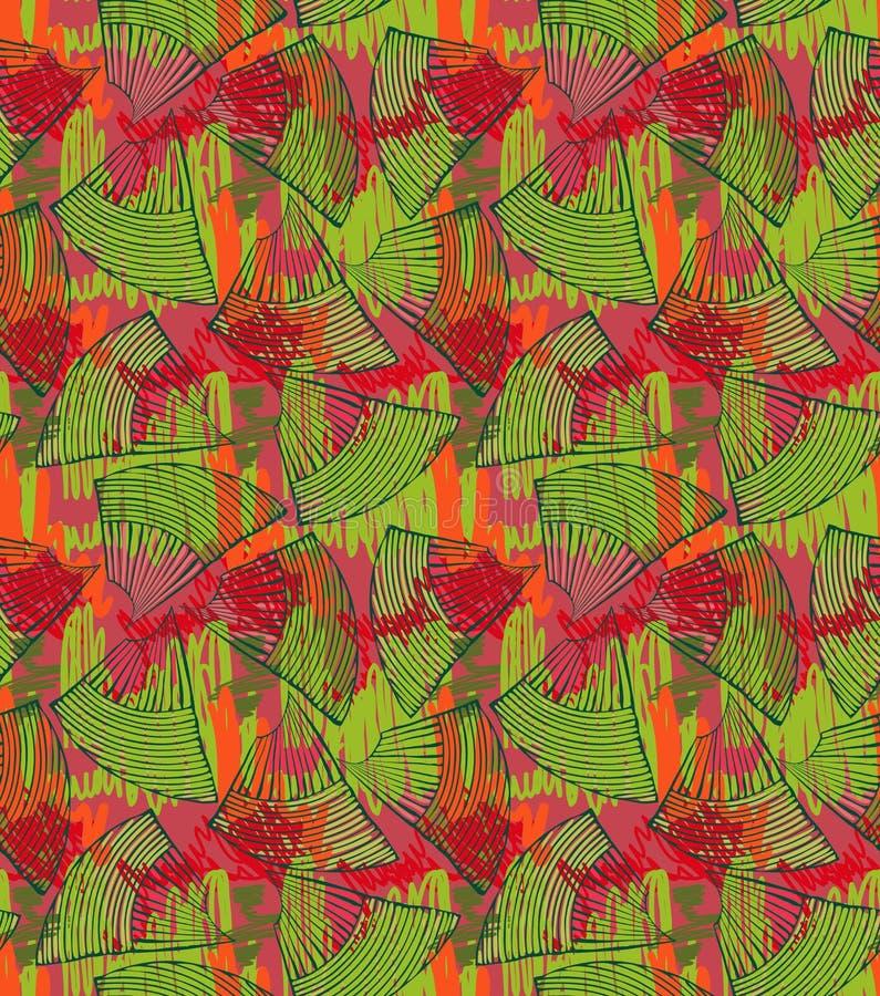 Vert abstrait de coquillages avec les griffonnages rouges illustration de vecteur