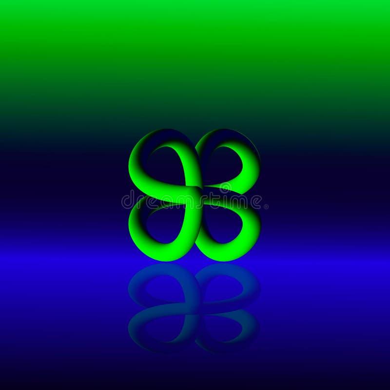 Vert abstrait du logo 3d sur un fond bleu illustration libre de droits
