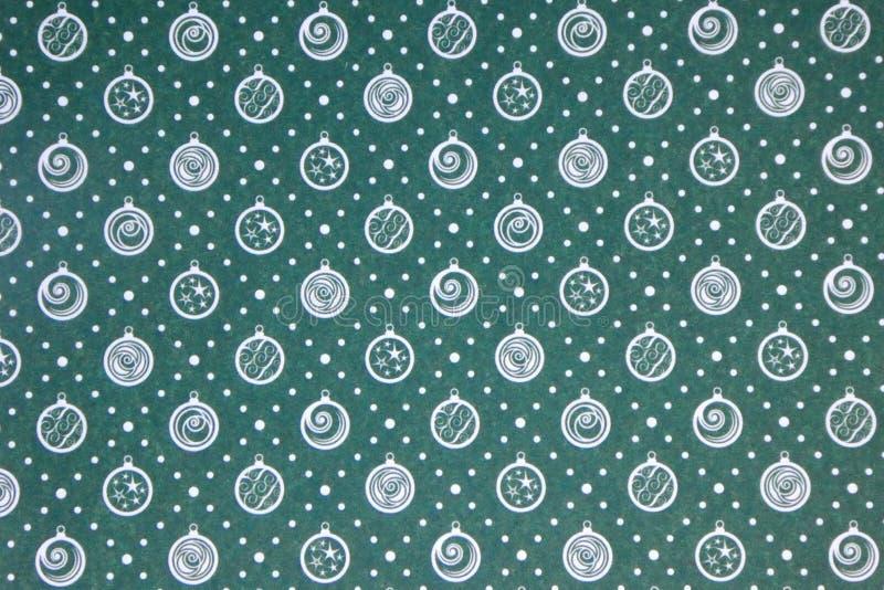 Vert avec le fond blanc de papier peint de Noël de décorations illustration de vecteur