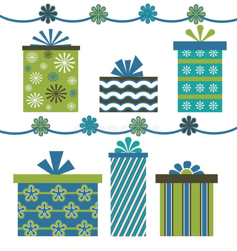vert bleu de cadeaux illustration de vecteur
