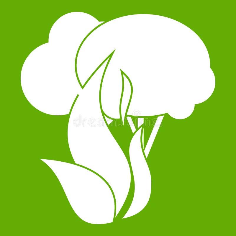 Vert brûlant d'icône d'arbres forestiers illustration de vecteur