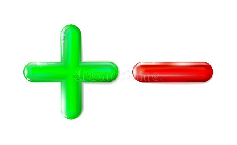 Vert brillant d'icône du plus 3D et du signe moins, symbole rouge Ui, annonce Jouet en plastique mathématique d'isolement réalist illustration libre de droits