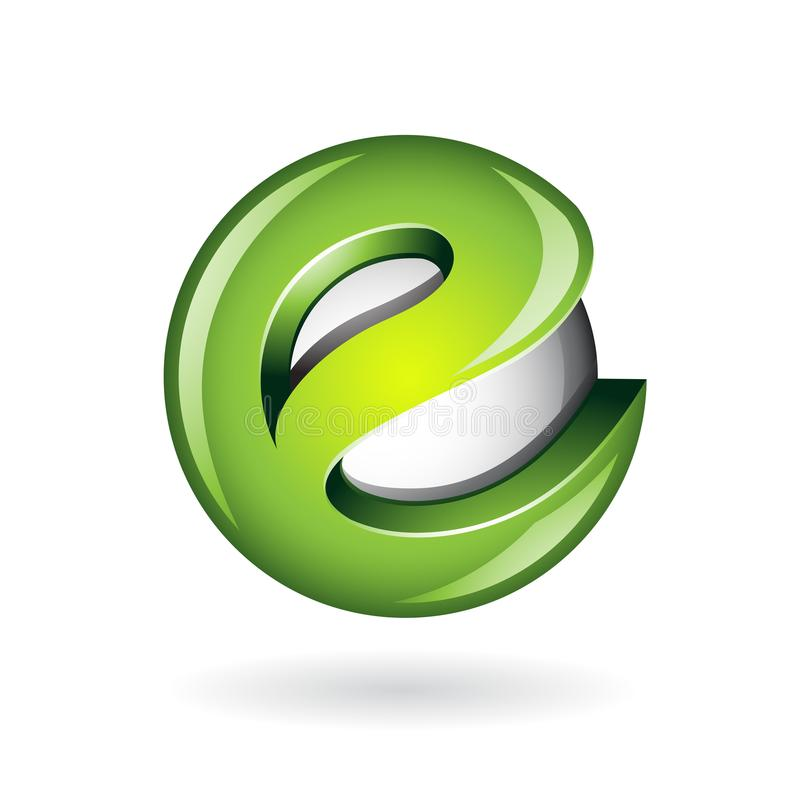 Vert brillant rond Logo Icon de la lettre E-3D illustration stock