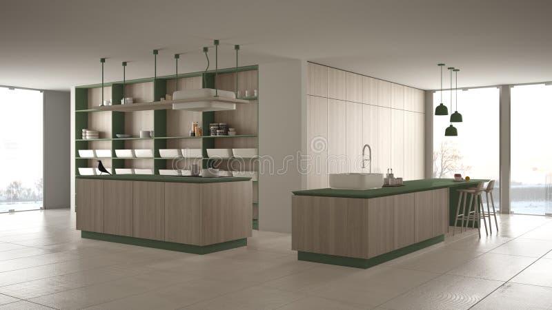 Vert cher de luxe minimaliste et fraise-mère en bois de cuisine, d'île, d'évier et de gaz, l'espace ouvert, fenêtre panoramique,  illustration stock