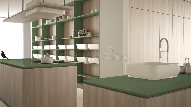 Vert cher de luxe minimaliste et fraise-mère en bois de cuisine, d'île, d'évier et de gaz, l'espace ouvert, plancher en céramique illustration de vecteur
