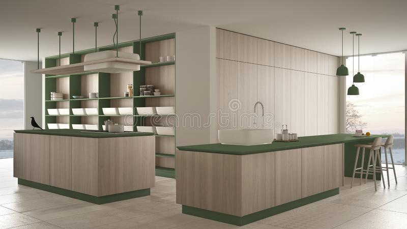 Vert cher de luxe minimaliste et fraise-m?re en bois de cuisine, d'?le, d'?vier et de gaz, l'espace ouvert, fen?tre panoramique,  illustration libre de droits