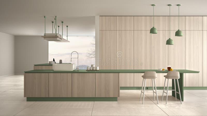 Vert cher de luxe minimaliste et fraise-m?re en bois de cuisine, d'?le, d'?vier et de gaz, l'espace ouvert, fen?tre panoramique,  illustration stock