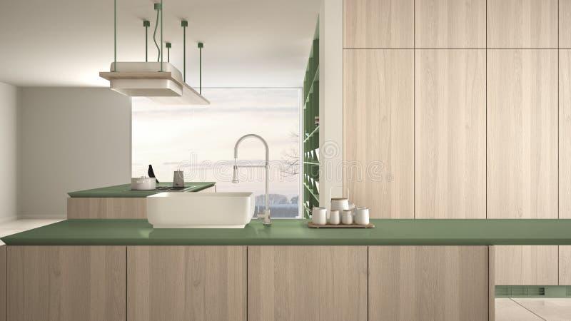 Vert cher de luxe minimaliste et fraise-m?re en bois de cuisine, d'?le, d'?vier et de gaz, l'espace ouvert, fen?tre panoramique,  illustration de vecteur