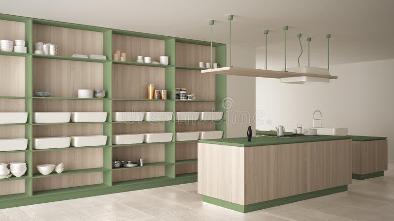Vert cher de luxe minimaliste et fraise-m?re en bois de cuisine, d'?le, d'?vier et de gaz, l'espace ouvert, plancher en c?ramique illustration libre de droits