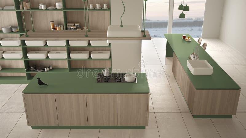 Vert cher de luxe minimaliste et fraise-m?re en bois de cuisine, d'?le, d'?vier et de gaz, l'espace ouvert, plancher en c?ramique illustration de vecteur