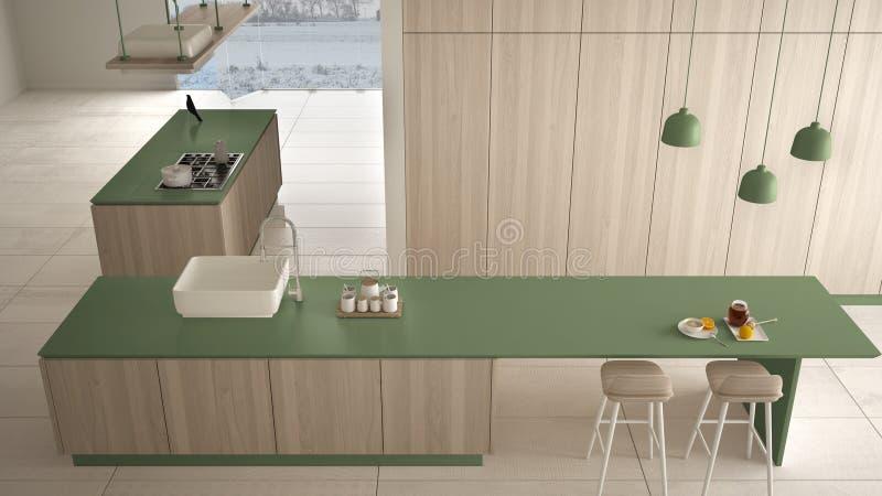 Vert cher de luxe minimaliste et fraise-m?re en bois de cuisine, d'?le, d'?vier et de gaz, l'espace ouvert, plancher en c?ramique illustration stock