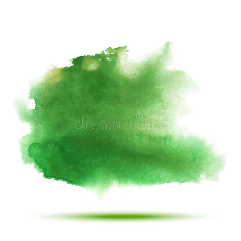 Vert clair - tache jaune de calomnie de vecteur d'aquarelle de ressort sur le fond blanc illustration stock