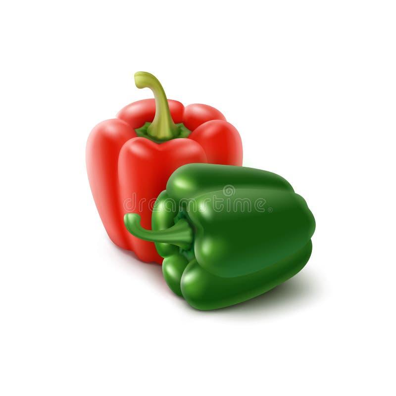 Vert coloré par deux, paprikas bulgares rouges illustration libre de droits