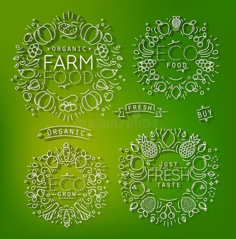 Vert d'éléments de ferme illustration stock