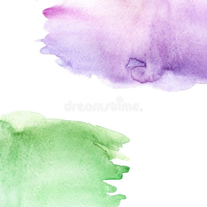 Vert d'aquarelle, fond pourpre et rose, tache, goutte, éclaboussure de peinture verte rose sur le fond blanc Ciel d'aquarelle, sp illustration stock