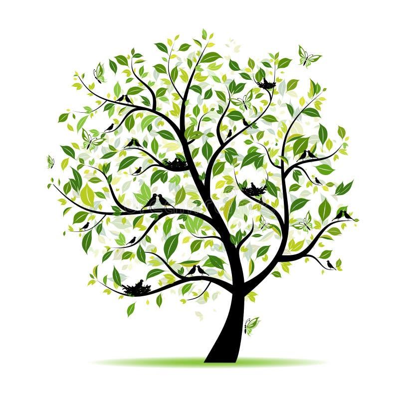 Vert d'arbre de source avec des oiseaux pour votre conception illustration libre de droits