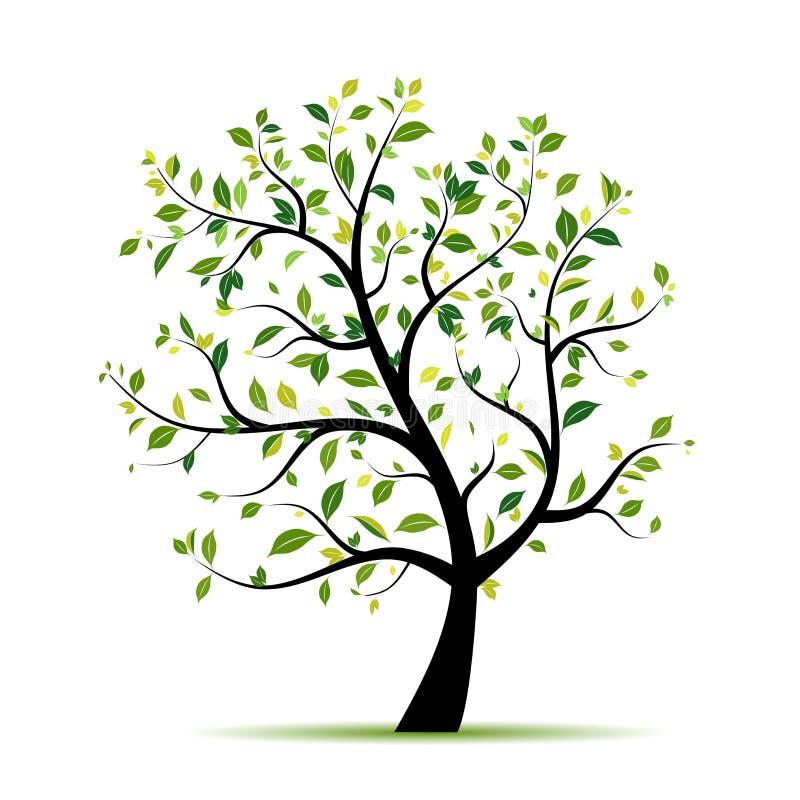 Vert d'arbre de source pour votre conception illustration de vecteur