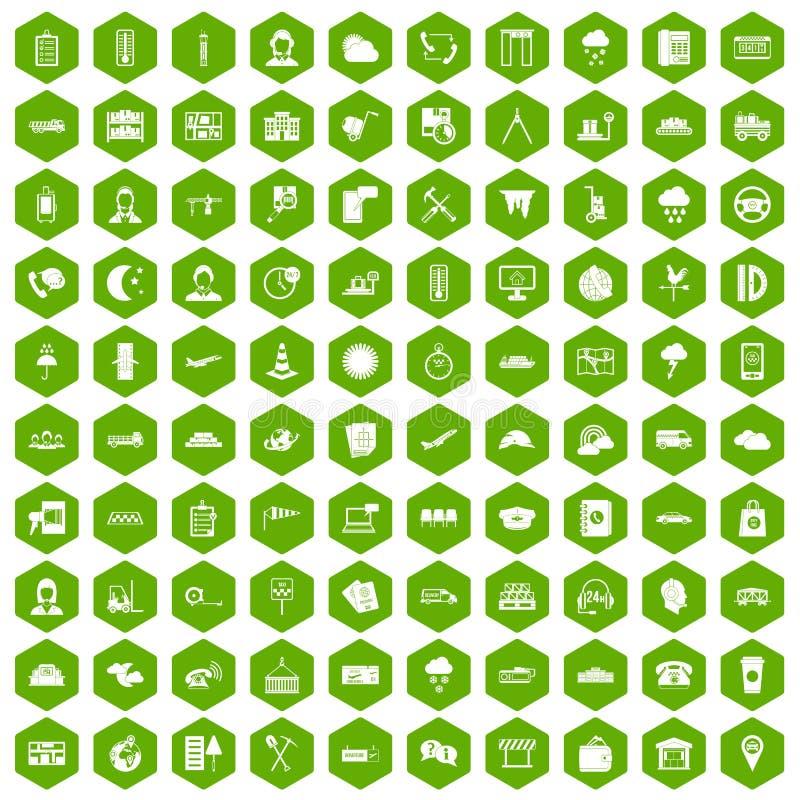vert d'hexagone de 100 icônes d'expéditeur illustration de vecteur