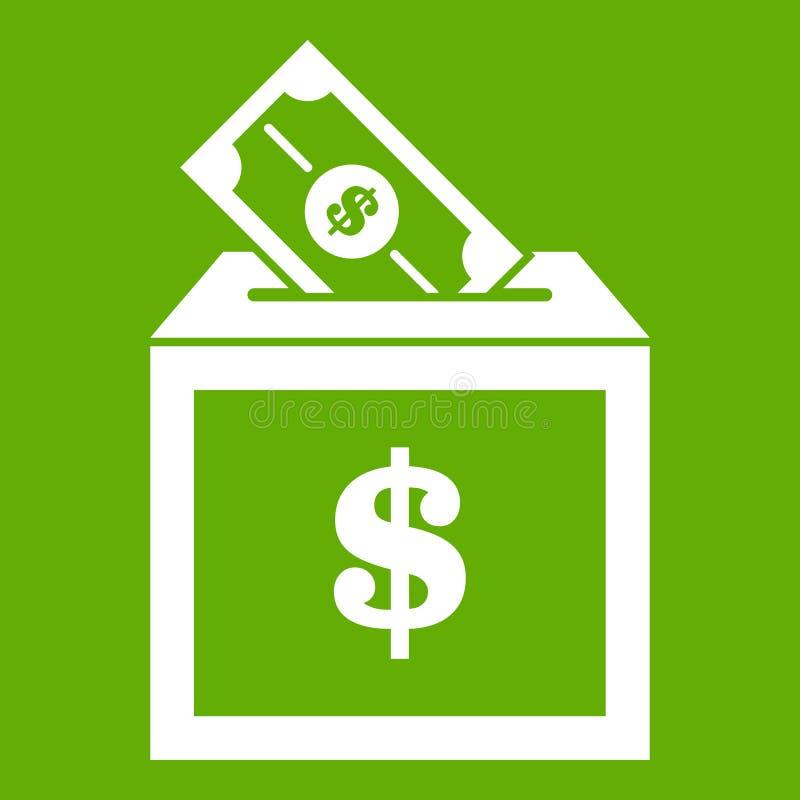 Vert d'icône de boîte de donation illustration libre de droits