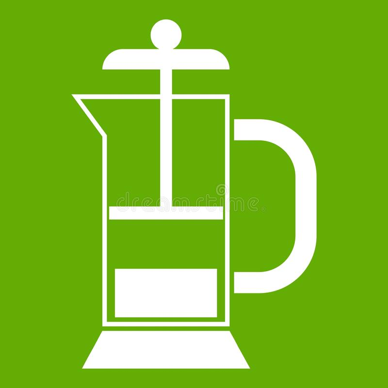 Vert d'icône de fabricant de café de presse de Français illustration stock