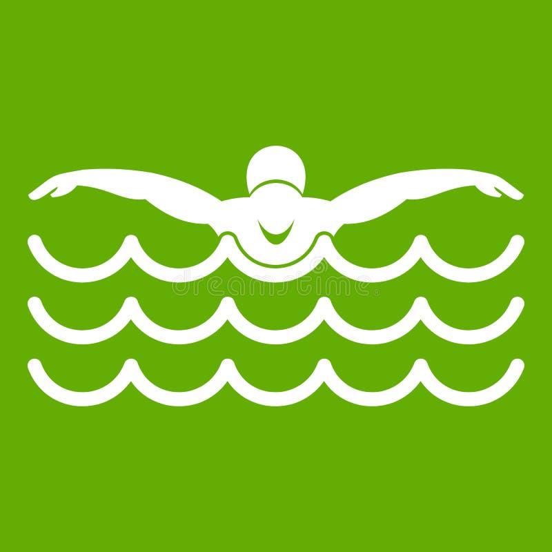 Vert d'icône de nageur de papillon illustration de vecteur