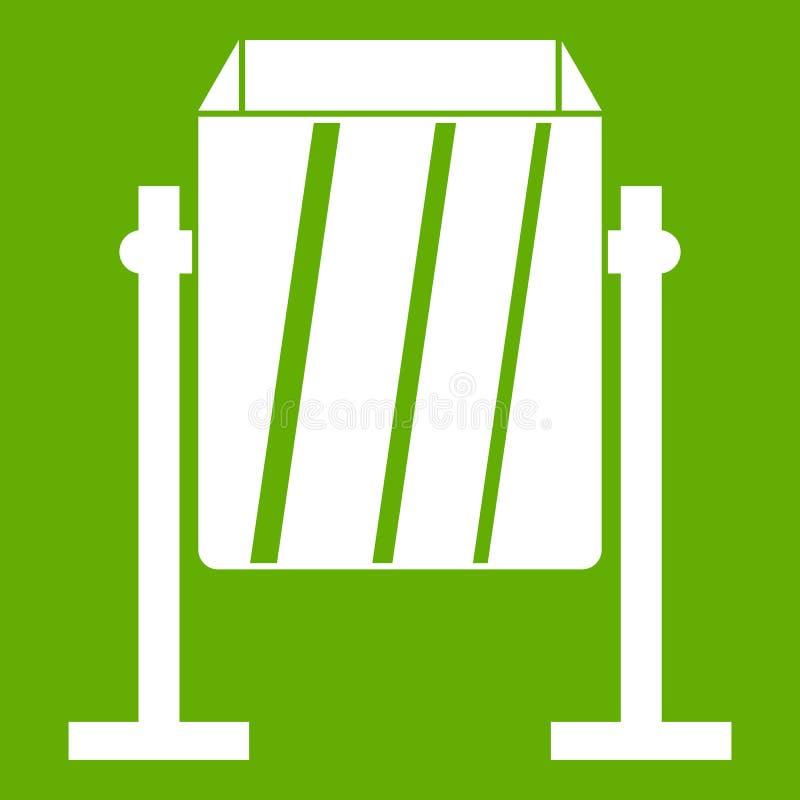 Vert d'icône de poubelle de poussière en métal illustration stock
