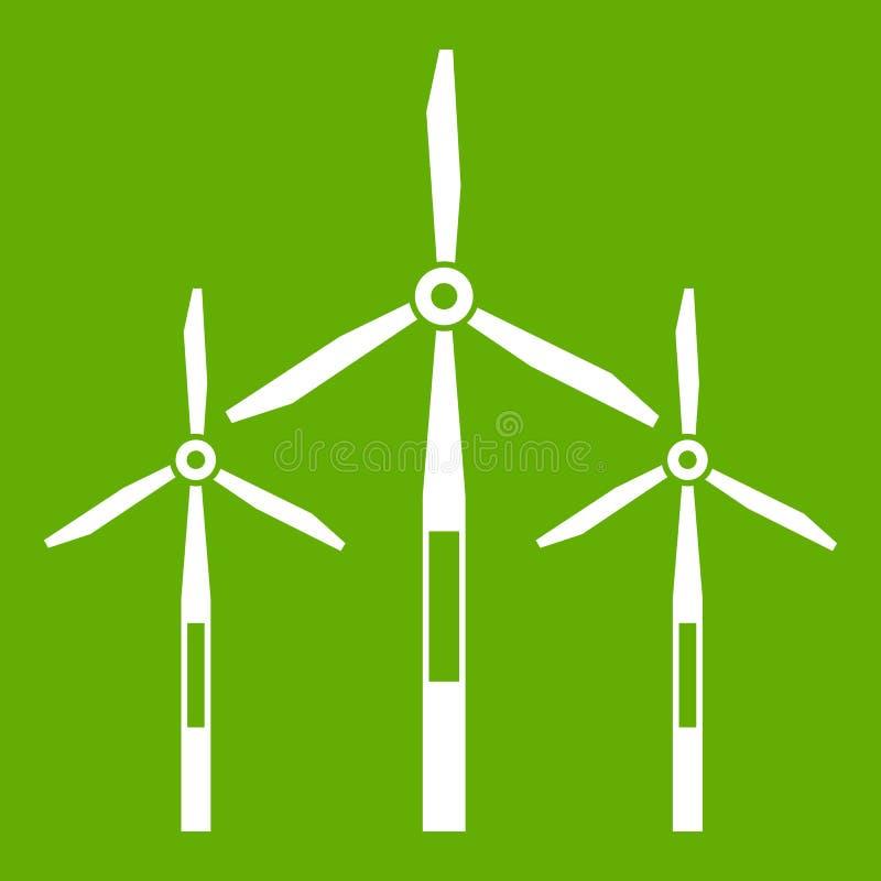 Vert d'icône de turbines de générateur de vent illustration de vecteur