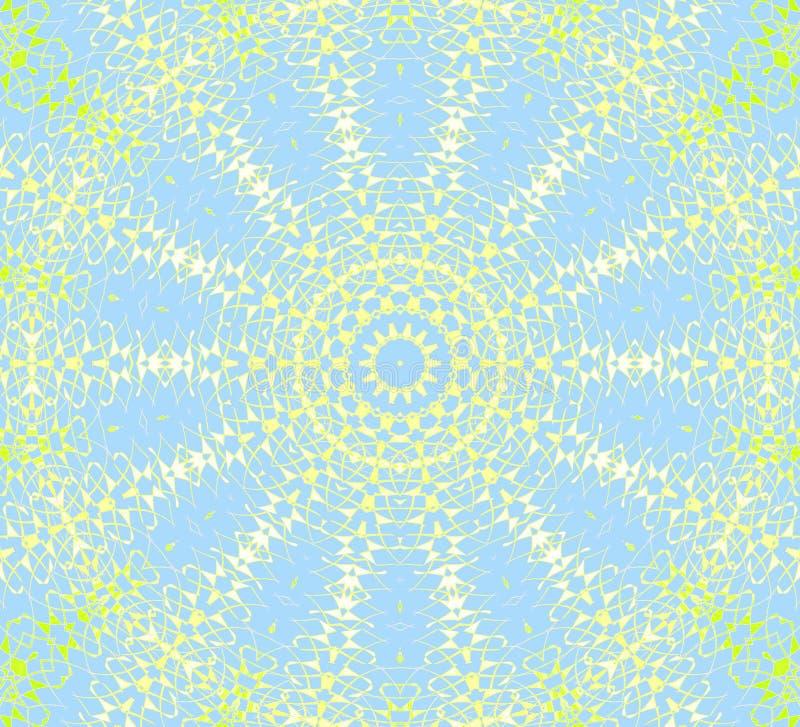 Vert de chaux jaune bleu-clair d'ornement radial sans couture de cercle concentrique illustration de vecteur