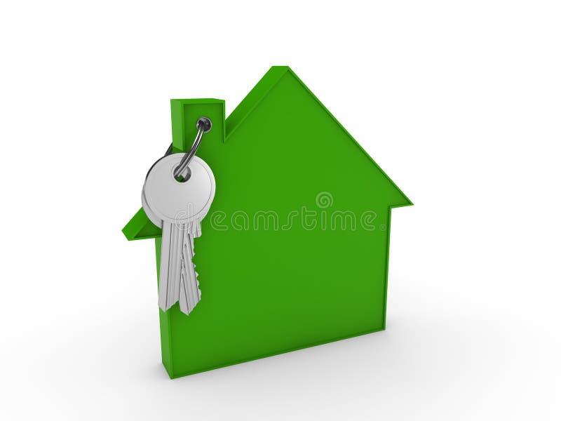 vert de clé de la maison 3d illustration stock