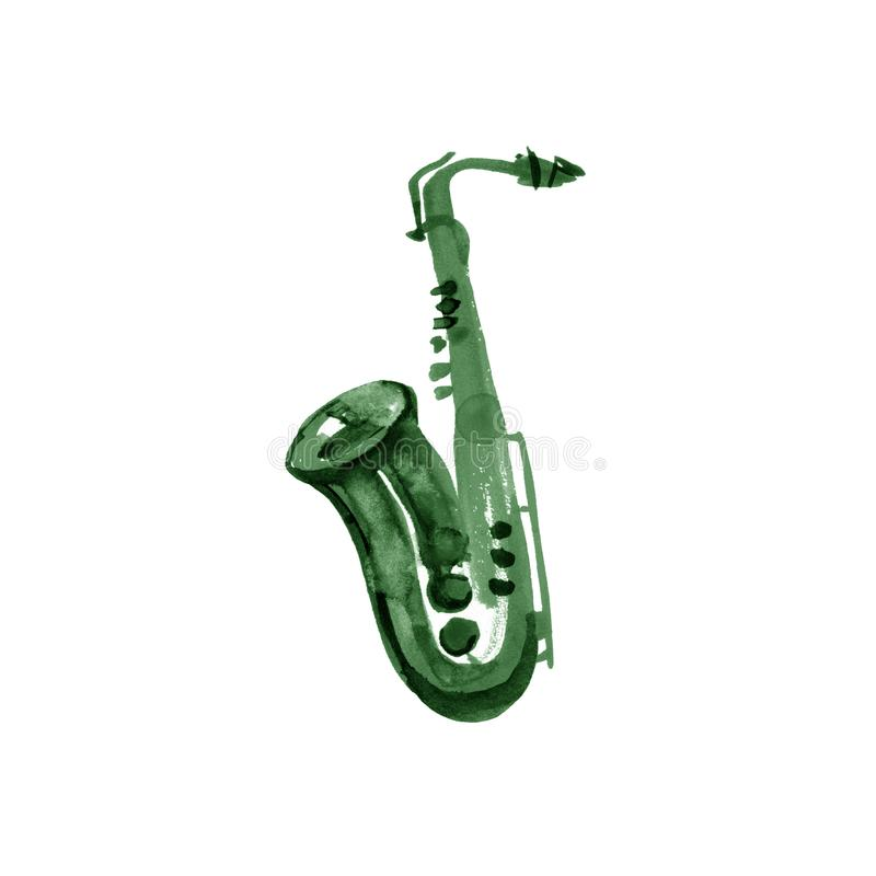 Vert de cuivre de saxophone de bande en laiton d'aquarelle sur le fond blanc illustration libre de droits