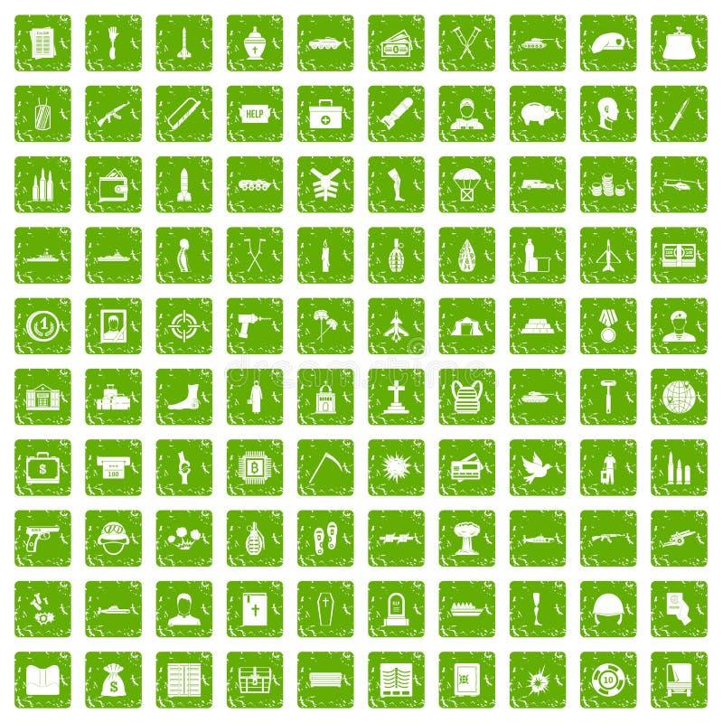 100 vert de grunge réglé de crimes de guerre par icônes illustration stock
