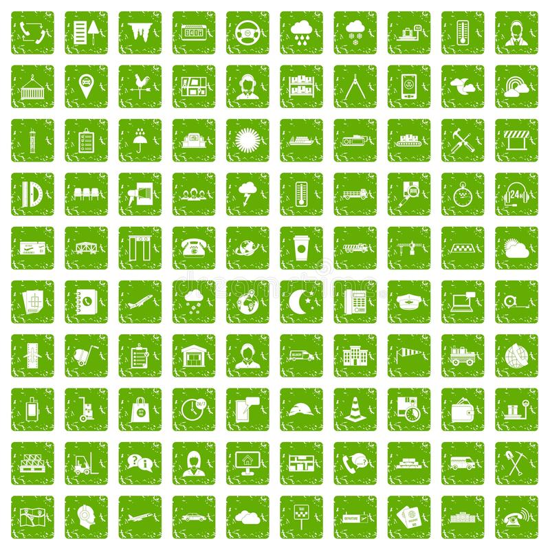 100 vert de grunge réglé d'expéditeur par icônes illustration libre de droits