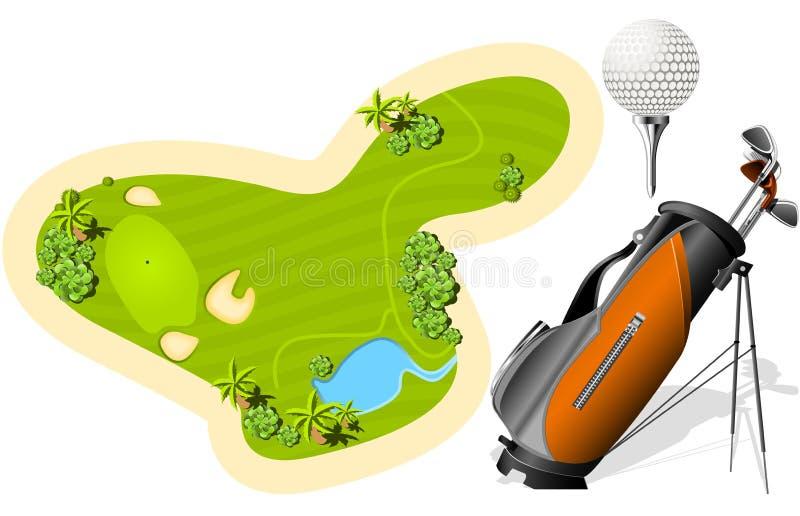 Vert de mise, sac de golf et bille illustration libre de droits