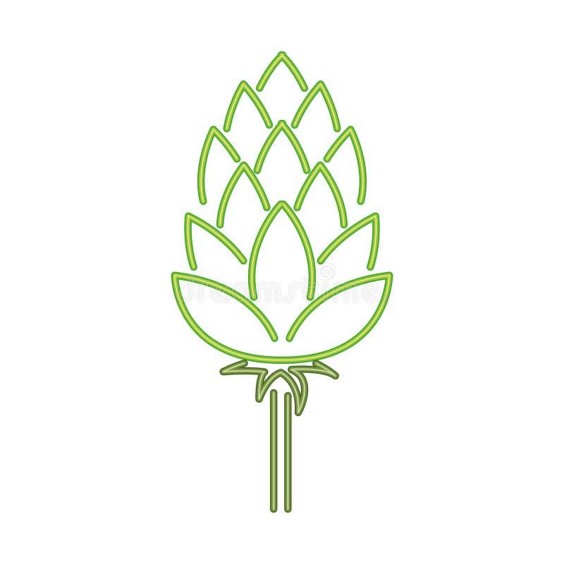 Vert de Pinecone dans l'ic?ne de lampe au n?on illustration de vecteur
