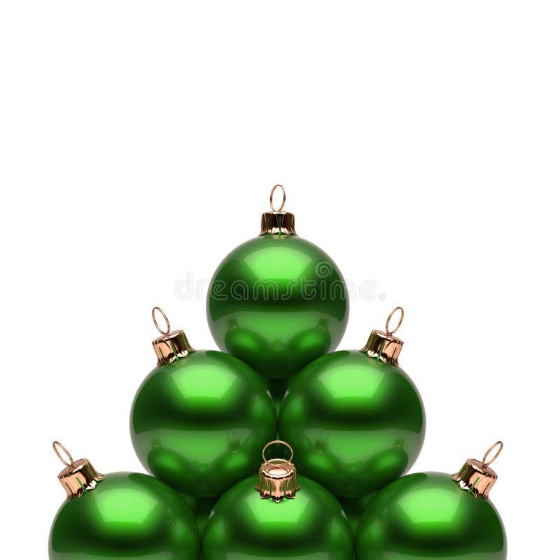 Vert de pyramide de boules de Noël brillant Groupe de babiole de nouvelle année illustration stock