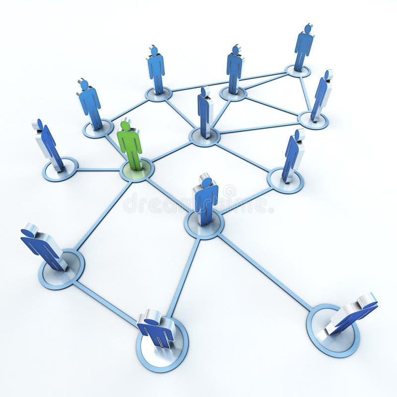 Vert de réseau de contact et bleu illustration de vecteur