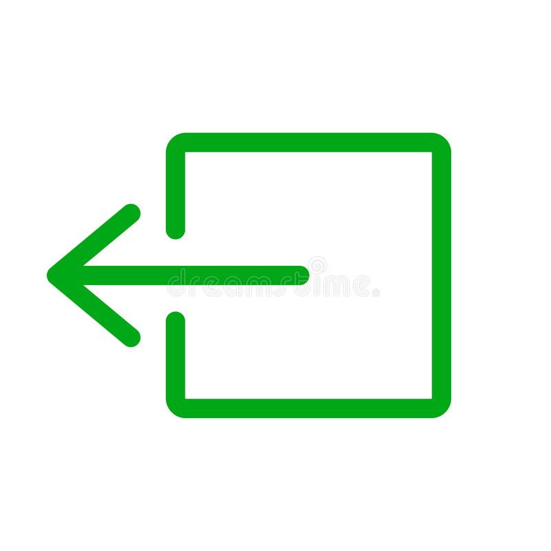 Vert de signe de sortie de secours sur le fond blanc illustration de vecteur