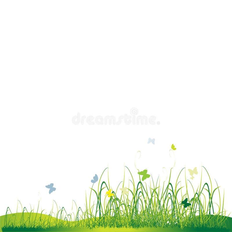 Vert de silhouette d'herbe, été illustration stock