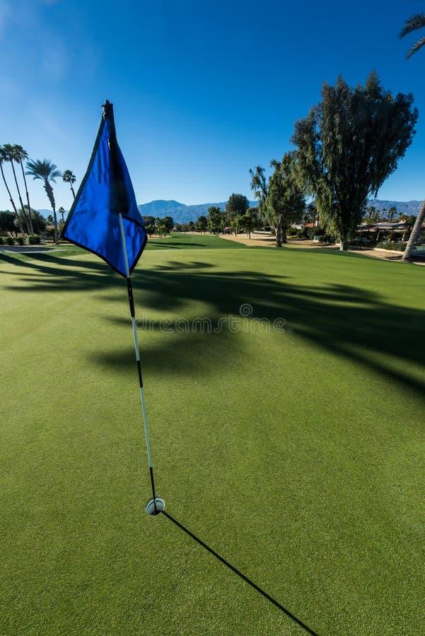 Vert de terrain de golf avec le drapeau en trou images libres de droits