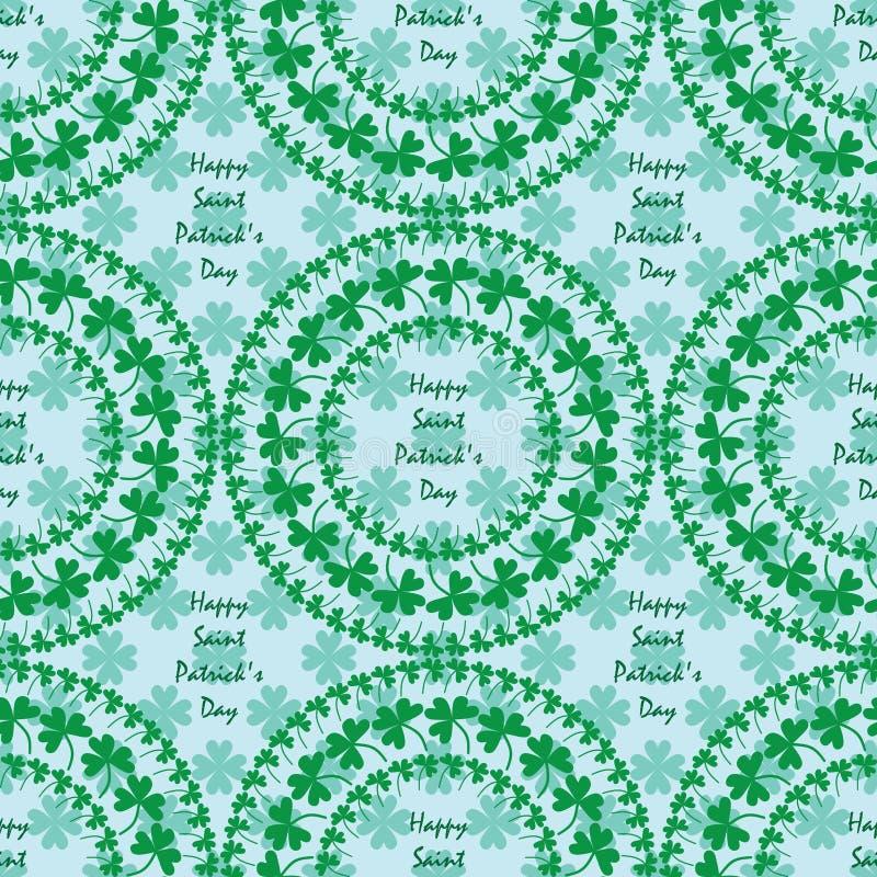 Vert de trèfle de cercle de mandala de jour du ` s de St Patrick écrivant le modèle sans couture illustration libre de droits