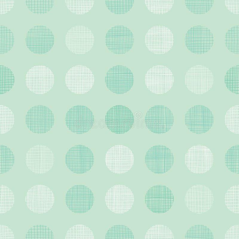 Vert Dots Circles Seamless Pattern Background de menthe de vintage de vecteur avec la texture de tissu Perfectionnez pour la crèc illustration de vecteur