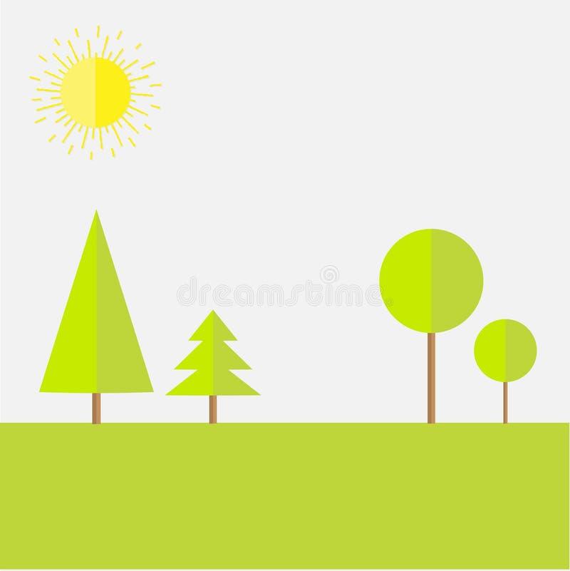 Vert en rond et ensemble impeccable de paysage d'arbre Conception plate illustration stock